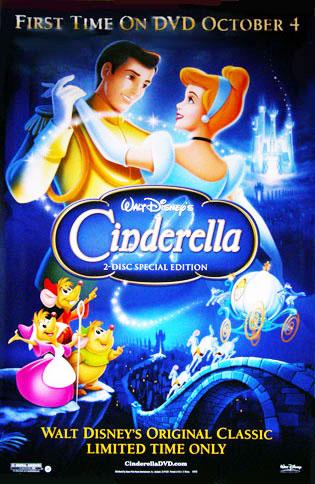 Cinderella Movie Poster Walt Disney 26x40 DVD