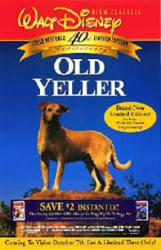 Old Yeller movie poster [40th Anniversary] Walt Disney video poster
