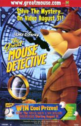The Great Mouse Detective movie poster [Disney] 26x40 video version NM