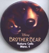 Brother Bear [Disney] 3'' round Promotional Bear Pin/Button-black (Nr. Mint)
