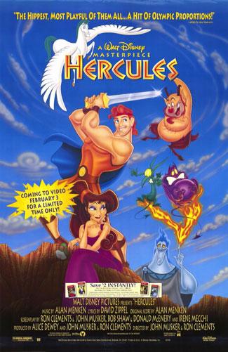 Hercules Movie Poster Disney 26x40 Video Version NM