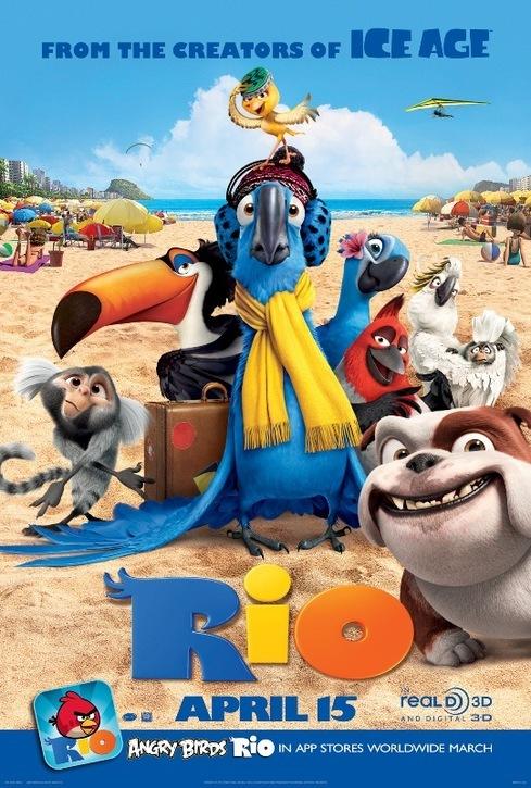 rio movie poster 2011 original 27 x 40 angry birds rio app advance