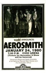 Aerosmith poster: 11 X 17 repro 1980 Night In the Ruts concert poster