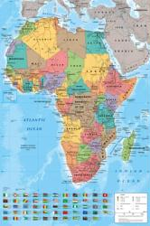 Africa poster: Map of Africa (24x36) National Flags