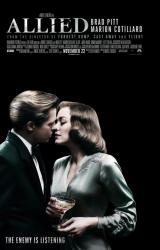 Allied movie poster [Brad Pitt, Marion Cotillard] 27x40 original