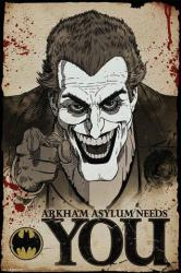 Batman poster: The Joker (24x36) Arkham Asylum Needs You