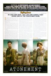 Atonement movie poster [Keira Knightley & James McAvoy] Review style
