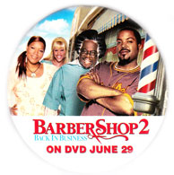 Barbershop 2: Back In Business pinback button [Ice Cube/Queen Latifah]