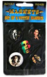 "Bob Marley magnet set: 5 different 1 1/4"" button magnets"