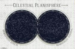 Celestial Planisphere poster: Star Chart (34x22)