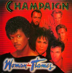 Champaign poster: Woman in Flames vintage LP/Album flat (1984)