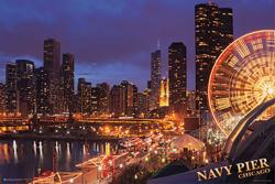 Chicago poster: Navy Pier and Skyline (36x24) New