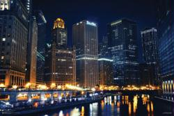Chicago Nights poster (36x24) Chicago Skyline and River