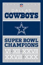 Dallas Cowboys poster: NFL Super Bowl Champions (22 1/2'' X 34'')