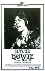 David Bowie poster: 11'' X 17'' repro 1974 concert handbill-style