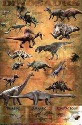 Dinosaurs poster: Triassic, Jurassic and Cretaceous Periods (24x36)