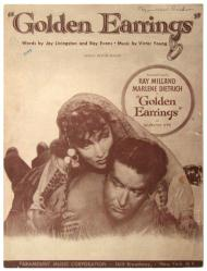 Golden Earrings vintage sheet music [Ray Milland, Marlene Dietrich]