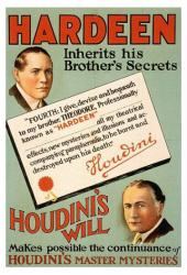 Hardeen poster: Houdini's Will (18 X 24 magician poster)