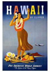 Hawaii by Clipper poster: Pan American World Airways (18x24) Travel