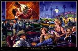 Hollywood Drive-In poster [James Dean, Garbo, Marilyn Monroe] 36x24