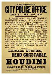 Houdini poster: Empire Theatre, Liverpool 1904 (18 X 24 magic poster)