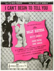 I Can't Begin To Tell You sheet music [Betty Grable, June Haver] VG