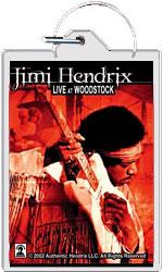 """Jimi Hendrix keychain: Live At Woodstock (1 1/2"""" X 2 1/4"""")"""