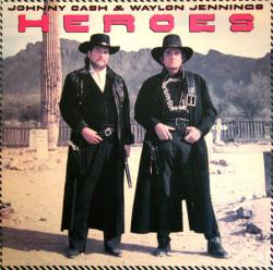 Johnny Cash & Waylon Jennings poster: Heroes vintage LP/Album flat