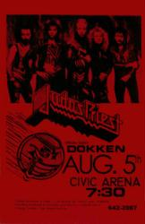 Judas Priest with Dokken poster: 11 X 17 repro 1986 concert poster