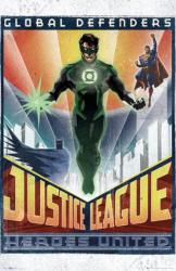 Justice League poster: Heroes United (24x36) Art Deco style