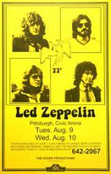 Led Zeppelin poster: 11'' X 17'' repro 1977 concert handbill-style