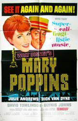Mary Poppins movie poster [Disney 1973 re-issue] original 27x41