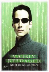 Matrix Reloaded pinback: 2.5'' X 3.5'' Button [Keanu Reeves as Neo]