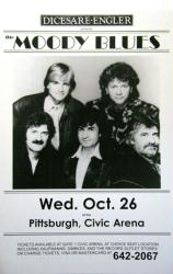 Moody Blues poster: 11 X 17 handbill-style 1986 concert repro poster