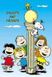 Peanuts poster: Snoopy & Friends at the Lamppost (27x40)