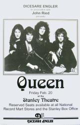 Queen poster: 11'' X 17'' 1976 Stanley Theatre repro handbill-style