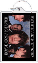 """Rolling Stones keychain: Black and Blue (2 1/4"""" X 1 1/2"""")"""
