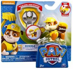 Paw Patrol: Rubble Action Pack Pup & Badge figure set (Nickelodeon)