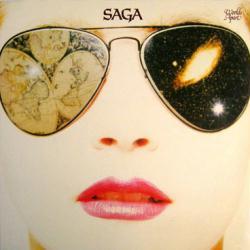 Saga poster: Worlds Apart vintage LP/Album flat