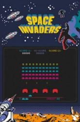 Space Invaders video game poster (24x36) Classic game screen