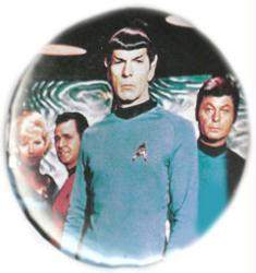 Star Trek pinback: Spock & Crew (3'' vintage button)