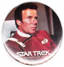 Star Trek The Wrath of Khan pinback: Admiral James T Kirk (3'' Button)