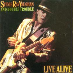 Stevie Ray Vaughan and Double Trouble poster: Live Alive LP/Album flat