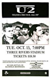 U2 poster: 11 X 17 The Joshua Tree Tour 1987 repro concert poster