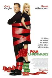 Four Christmases movie poster [Vince Vaughn, Reese Witherspoon] 27x40