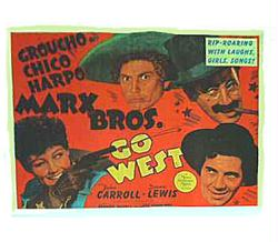 Go West movie poster [The Marx Brothers] Groucho, Chico & Harpo