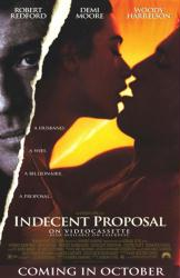 Indecent Proposal movie poster [Robert Redford/Demi Moore/Harrelson]