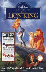The Lion King movie poster (Disney) 26x40 video poster