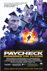 Paycheck movie poster [Ben Affleck/Uma Thurman/Aaron Eckhart] John Woo