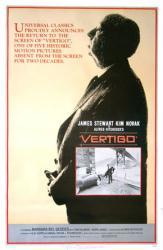 Vertigo movie poster [James Stewart/Kim Novak] Alfred Hitchcock (1983)